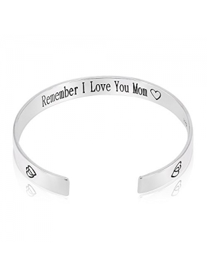 QTMY Remember I Love You Mom Forever and Always Cuff Bracelet Bangle Cuff Mother's Day Gift (Copper plated with silver)
