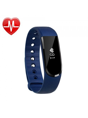 LETSCOM Fitness Tracker Watch, Bluetooth 4.0 Heart Rate Monitor Bracelet, IP67 Waterproof Touch Screen Smart Bands with Activity Tracker for iPhone Android Smartphone Blue