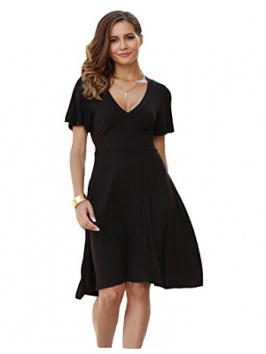 Beyove Women's Short Sleeve Vintage Casual Fit and Flare Cocktail Party Swing Dress