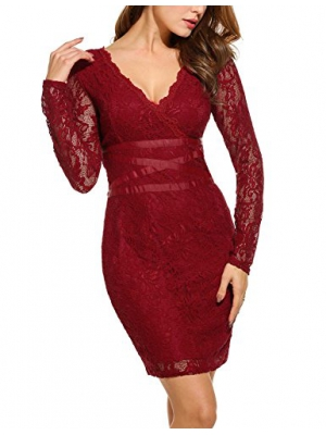 ANGVNS Women Long Sleeve V Neck Floral Lace Slim Fit Cocktail Pencil Dress Party Evening Bodycon Dress