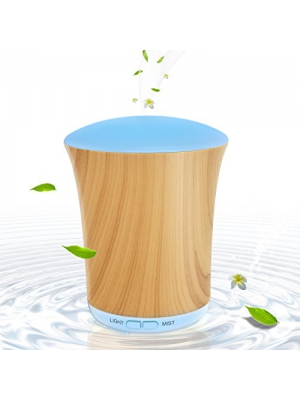 200ml Aroma Diffusers for Essential Oils Wood Grain, BAXIA TECHONOLOGY Portable Ultrasonic Aromatherapy Diffuser Cool Mist Humidifier with 8 Color LED Lights for Office Home Room Study Yoga Spa