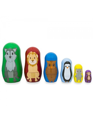 "4.5"" Set of 6 Wolf, Lion, Owl, Penguin Wild Animals Plastic Nesting Dolls"