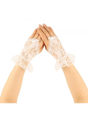 Sexy Sheer Lace Fingerless Ribbon Hook Ruffle Short Wrist Dressy Gloves