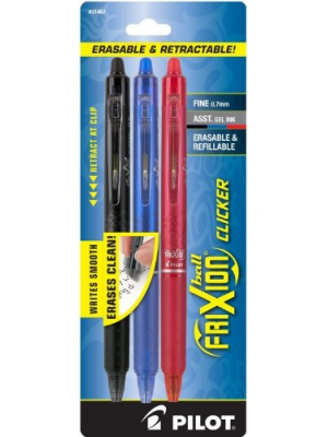 Pilot FriXion Clicker Retractable Erasable Gel Pens, Fine Point, Black/Blue/Red Inks, 3-Pack (31467)