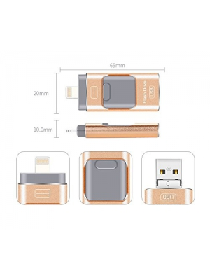 128GB USB Flash Drive OTG for iPhone & iPad&Android&Computer (Gold)