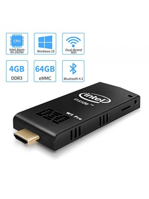 W5 Pro Mini PC Intel Atom Z8350 Windows 10 Computer Stick 4GB DDR 64GB eMMC Support 4K HD,Dual Band WiFi AC,2 USB Port,BT 4.2