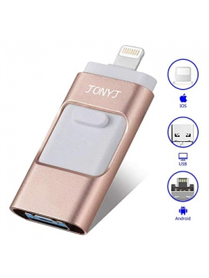 USB Flash Drives for iPhone 128GB [3-in-1] Lightning OTG Jump Drive, JONYJ Thumb Drives External Micro USB Memory Storage Pen Drive, USB Flash Memory Stick for iPhone, iPad, iOS, Android, PC (Pink)