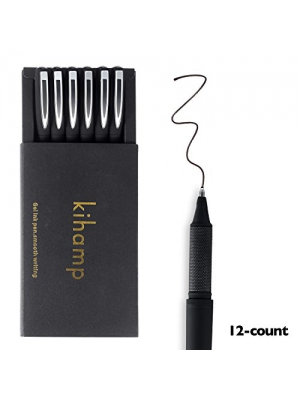 Kihamp Pens,Black lnk Pens Set,0.7mm Gel Pens,Black,12-Count (Fine Point, Silver)