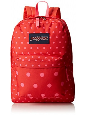 JanSport Superbreak Backpack - 1550cu in Coral Dusk Dots, One Size