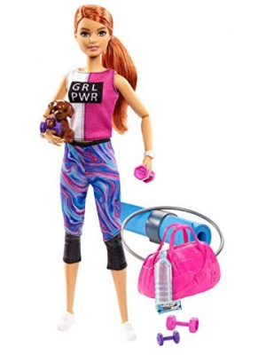 ​Barbie Fitness Doll, Red-Haired, with Puppy and 9 Accessories, Including Yoga Mat with Strap, Hula Hoop and Weights, Gift for Kids 3 to 7 Years Old