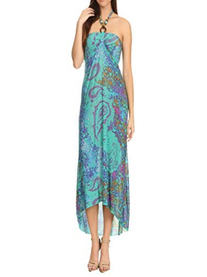 Juccini Abstract Print Backless Beaded Halter Self-Bra Sexy Boho Maxi Beach Dress In Loose Relaxed Style Summer Dress