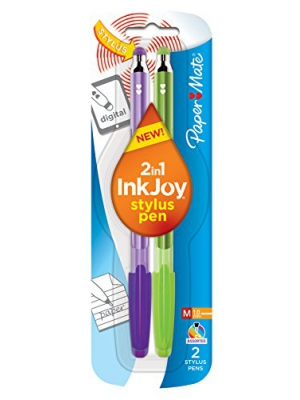 Paper Mate InkJoy 100 Stick Stylus Ballpoint Pens, 1.0 mm, Assorted, 2/Pack
