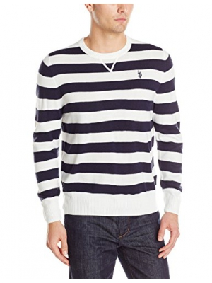 U.S. Polo Assn. Men's Stripe Crew Neck Sweater with Vee Insert