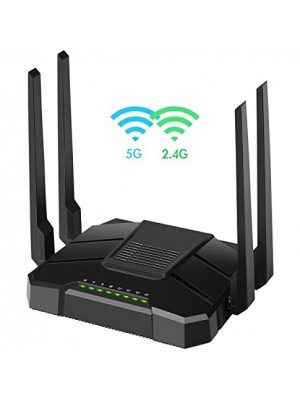 【2019 Newest】 Smart WiFi Router Dual Band Gigabit Wireless Internet Router for Home AC1200 High Speed Internet Router with USB 2.0 & SD Card Slot VPN Server Firewall Parental Control