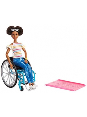 ​Barbie Fashionistas Doll, Brunette with Rolling Wheelchair and Ramp, for 3 to 8 Year Olds