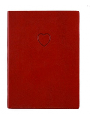 Red Embossed Heart Writing Journal - Lined Pages