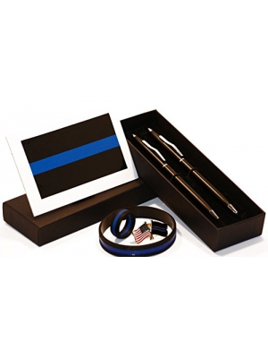 Classic Black and Silver Police Uniform Pens w/ Thin Blue Line Gift Pack