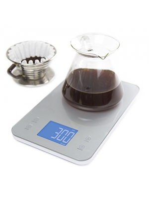Nourish Digital Kitchen Food and Coffee Scale + Timer: Precision Sensors, Large Glass Weight Platform, and Large Backlit Display