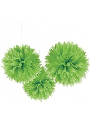 Amscan Kiwi Green Fluffy Paper Decoration For Parties, 3 Ct.