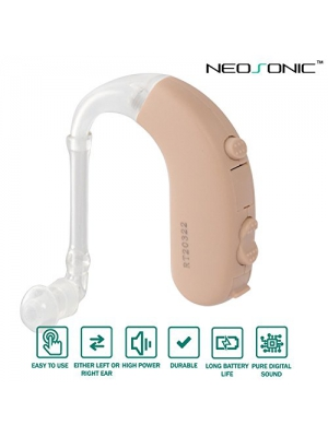 Neosonic Digital Hearing Amplifier, High Performance BTE Sound Amplifiers with 4 Channels Compression, Adaptive Feedback Cancellation, 4 Preset Listening Programs