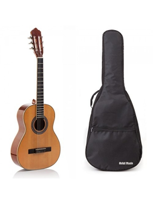Classical Guitar with Soft Nylon Strings by Hola! Music, Junior 3/4 Size 36 Inch (Model HG-36GLS), Natural Gloss Finish - FREE Padded Gig Bag Included