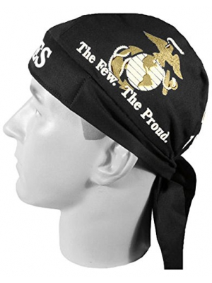 US Marines Black Globe and Anchor Head Wrap Do-rag with SWEATBAND and BCAH Bumper Sticker
