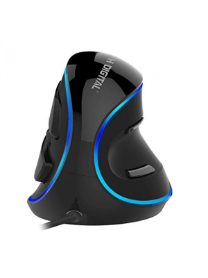 J-Tech Digital [V628] Wired Ergonomic Vertical USB Mouse with Adjustable Sensitivity (600/1000/1600 DPI), Scroll Endurance, Removable Palm Rest & Thumb Buttons