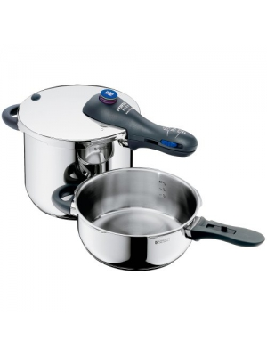 WMF Perfect Plus 6-1/2-liter and 3-liter Stainless-Steel Pressure Cookers with Interchangeable Locking Lid