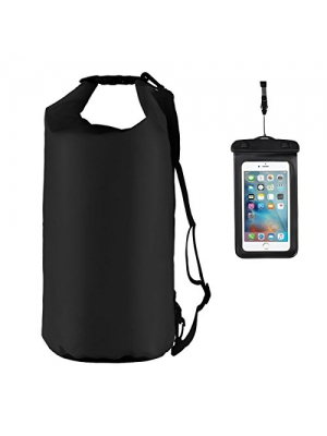 20L Dry bag Dry Sack Set Black Fishing Waterproof Bag Outdoor Bag for Fishing/Floating/River Tracing/Kayaking /Rafting/ Camping/ Sports + Waterproof Phone Pouch 6 Inch Phone Case Clear Universal Float