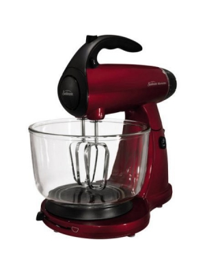 Sunbeam Mixmaster 12-Speed Stand Mixer, Includes 4-quart Glass Bowl, Beaters and Dough Hooks, Red