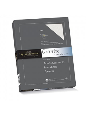 "Southworth 25% Cotton Granite Specialty Paper, 8.5"" x 11"", 24 lb., Gray, 100 Sheets (P914CK)"