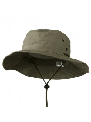 Extra Big Size Brushed Twill Aussie Hats - Olive (For Big Head)