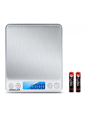 GDEALER Digital Pocket Kitchen Scale 0.001oz/0.01g 500g Kitchen Food Scale Jewelry Weight Compact Scale, Tare, Stainless Steel, Backlit Display