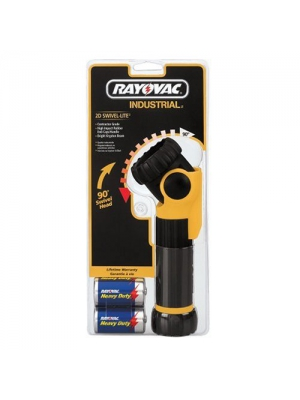 Rayovac 2D Industrial Swivel Flashlight with Two HD D Size Batteries