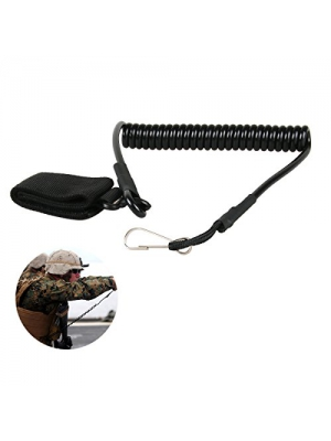 Pistol Lanyard - Tactical Adjustable Handgun Rope Sling - Military Security Belt Strap Spring Retention Coil Refile Slings for Hunting Outdoor Sports