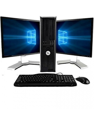 Dell Optiplex Windows 10, Core 2 Duo 3.0GHz, 8GB, 1TB, with Dual 19in LCD Monitors (Brands may vary) (Renewed)