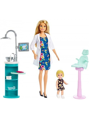 Barbie Dentist Doll, Blonde, and Playset with Blonde Patient Small Doll, Sink, Chair and More, Career-Themed Toy for 3 to 7 Year Old Kids​