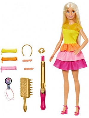 ​Barbie Ultimate Curls Blonde Doll and Hairstyling Playset with No-Heat Curling Iron and Curlers, Plus Hair Accessories, for Kids 3 to 7 Years Old