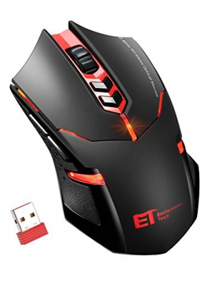PICTEK Wireless Gaming Mouse, Silent Click, Side Buttons, 2.4G Cordless Computer PC Gaming Mouse Laptop USB Mice, Advanced 2400 DPI Optical Sensor, 7-Button, Ergonomic Grips, Red