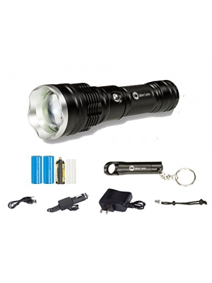 Super Bright Tactical Flashlight CREE LED 1000 Lumen USB Car Rechargeable, Black Zoomable Pocket Torch Emergency Light Kit Mini Keychain | Heavy Duty Outdoor Survival Self Defense Police Camping