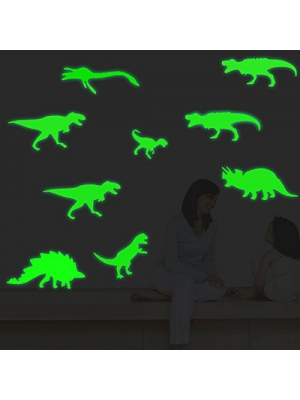 FLY SPRAY Large Size 9pcs Creative Luminous Wall Decorative Dinosaur Sticker Glow in the Dark Light Decor Removable Vinyl Decals Mural Baby Nursery Room