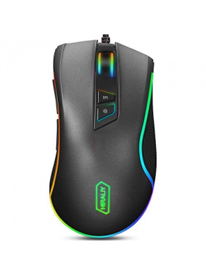 HIRALIY F300 Gaming Mouse Wired 10,000 DPI Adjustable 7 Programmable Buttons 16.8 Million Chroma RGB Color Backlit Ergonomic Comfortable Grip for Gamer Desktop Laptop PC-PMW3325 Game Sensor