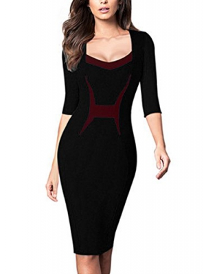 MABELER Women's Vintage Colorblock Contrast Sheath Cocktail Work Pencil Dress