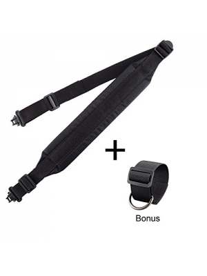 Shotgun Sling Adjustable Strap Two Point Gun Sling Rifle Sling Swivel with Buttstock Attachment Kit – Bundle by BOOSTEADY
