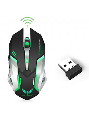 Wireless Optical Gaming Mouse with USB Receiver LinkStyle Color Changing Wireless Laptop Mouse, Rechargeable Game Mice with 4 Adjustable CPI Levels for PC, Laptop, Computer, Macbook & Gaming Players
