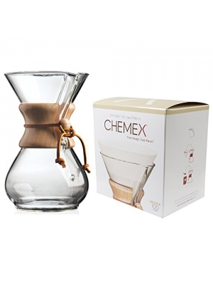 Chemex Classic Wood Collar and Tie Glass 6-Cup Coffee Maker with 100 Count Bonded Circle Coffee Filters