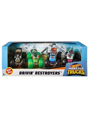 Hot Wheels Monster Trucks 1:64 Scale 4-Pack Assortment with Giant Wheels Gift idea for Kids 3 to 6 Years Old
