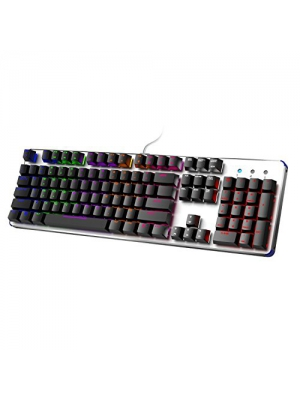 HIRALIY GT104 Backlit Mechanical Gaming Keyboard with Blue Switch (Black+Sliver)