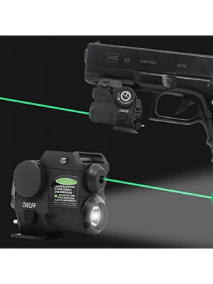 Lasercross Tactical Compact Green Dot Laser Sight,LED Flashlight Combo with 20mm Rail Picatinny On/Off Switch for Air Pistol,Airgun,Modem Semi-automatic Pistols,Handgun,Shotguns,Rifle etc