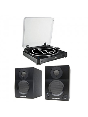 Audio-Technica AT-LP60BK-BT Bluetooth Automatic Turntable (Black) w/ Samson BT3 Active 2-way Bluetooth Monitors